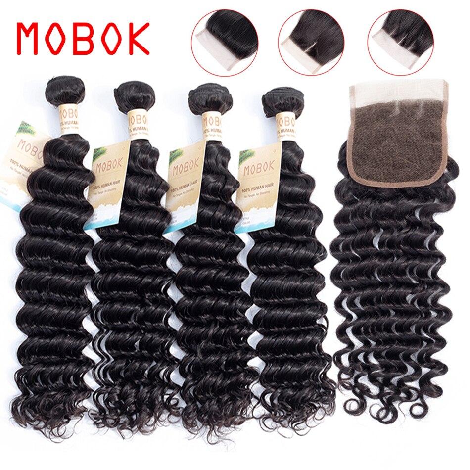 Brazilian Deep Wave Bundles With Closure Non-Remy Human Hair 3 Bundles With Lace Closure Human Hair Extensions 130% Density